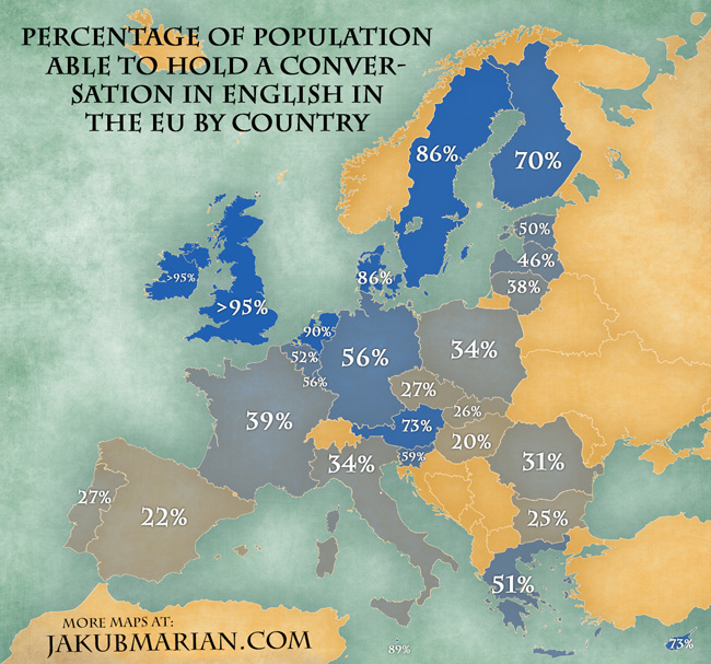 Percentage of people in the EU being able to hold a conversation in English, by country (From /r/languagelearning) ...