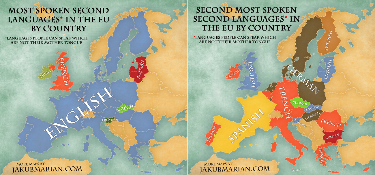 First And Second Most Spoken Nonnative Languages In The EU - Most spoken first language in the world
