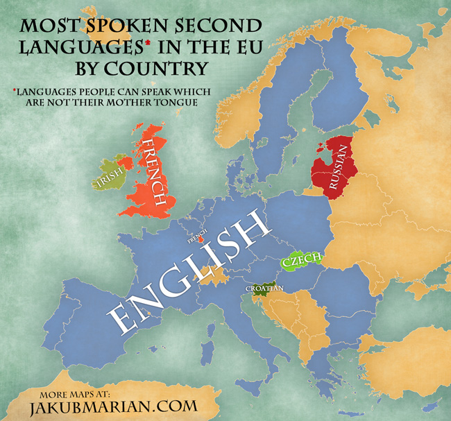 Map Most Spoken Nonnative Languages In European Countries - Native language world map