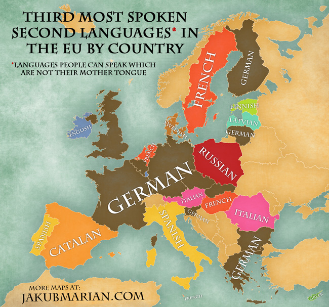Map of the most spoken foreign languages in the EU by country – Map of Europe in German Language