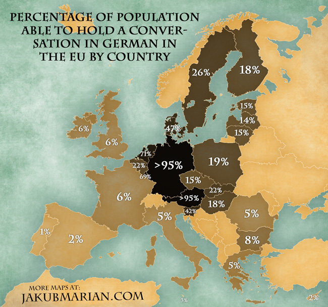 Map of the percentage of people speaking german in the eu by country gumiabroncs Choice Image