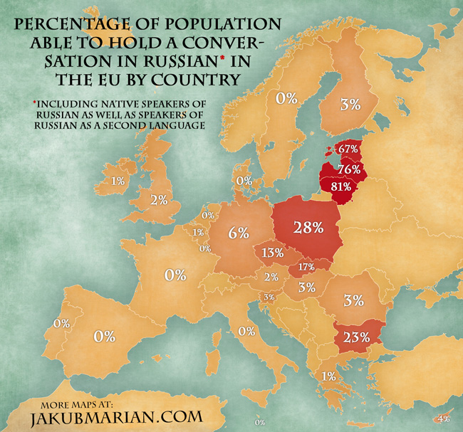 Map Of The Percentage Of Population Able To Speak Russian In The Eu