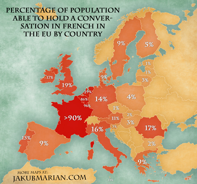 Map of the percentage of population able to speak French in the EU
