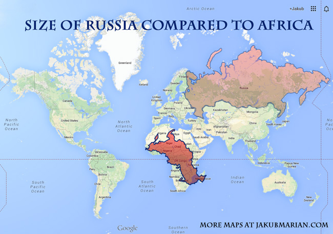 How big are Greenland and Russia in comparison to Africa?
