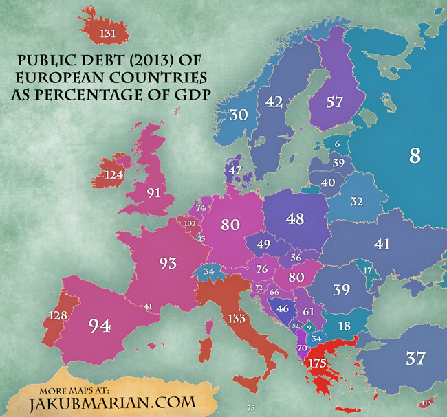 Map of public debt in Europe