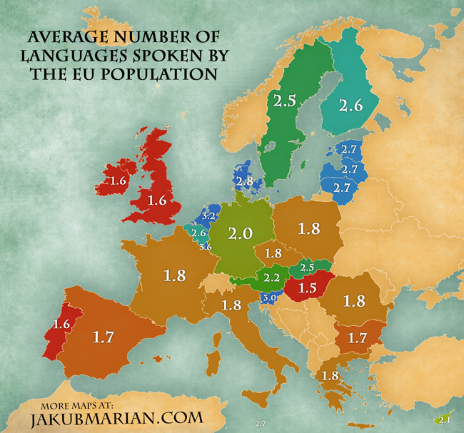Average Number Of Languages Spoken By The EU Population - Languages spoken by country