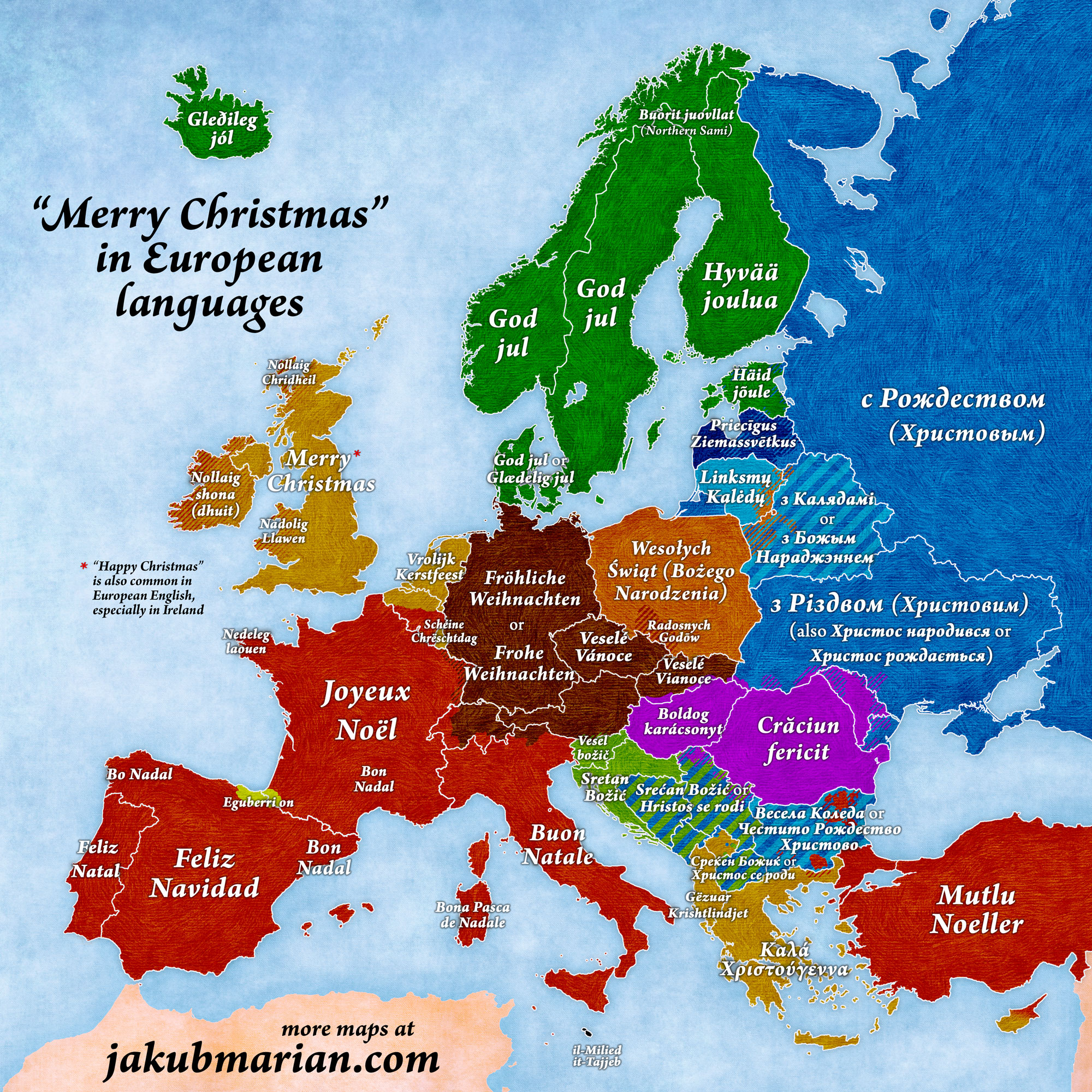 merry christmas in european languages map