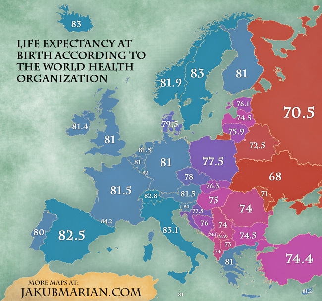 Map Of Life Expectancy In Europe