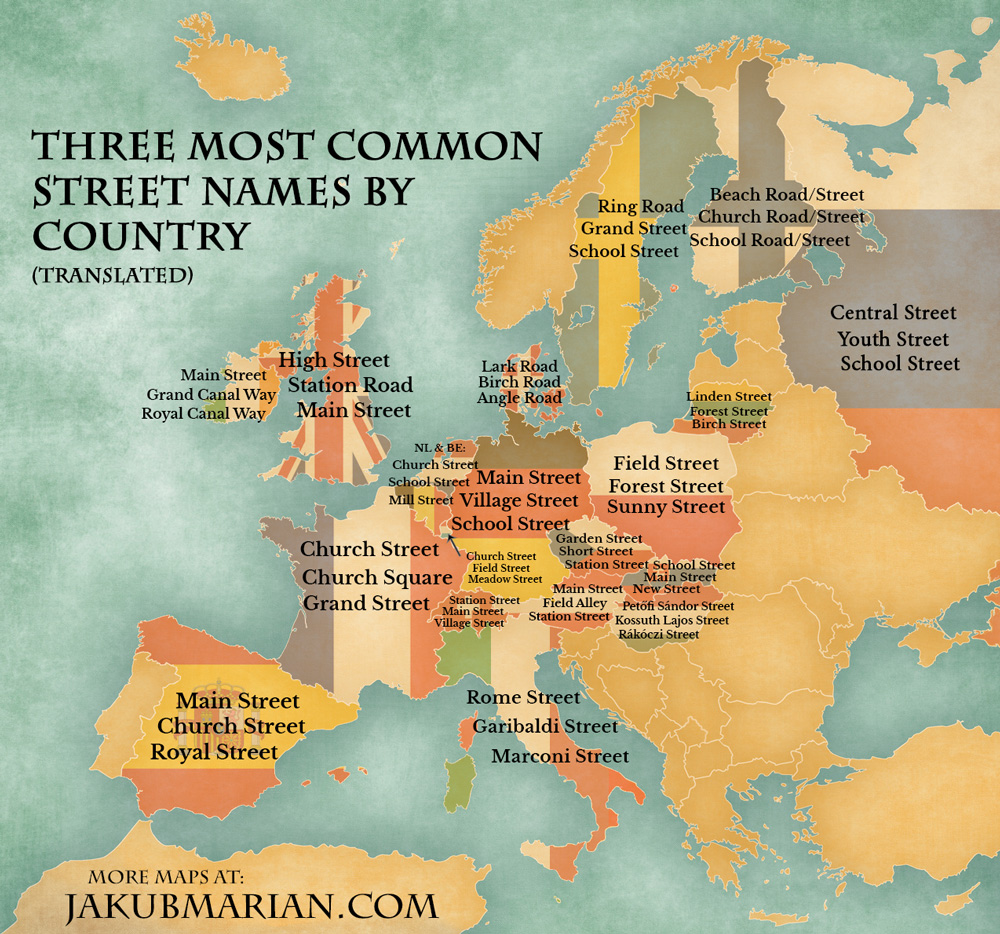 most common street names by country in europe