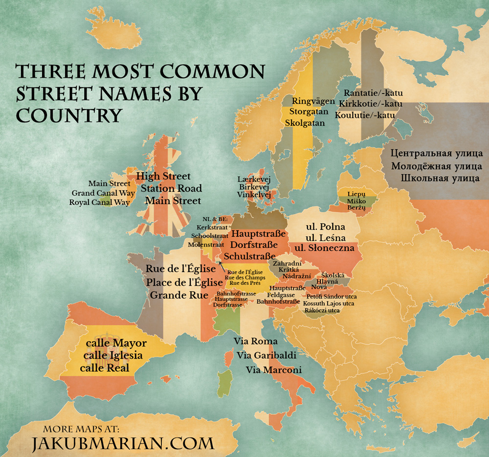 Most common street names by country in europe street names gumiabroncs Gallery