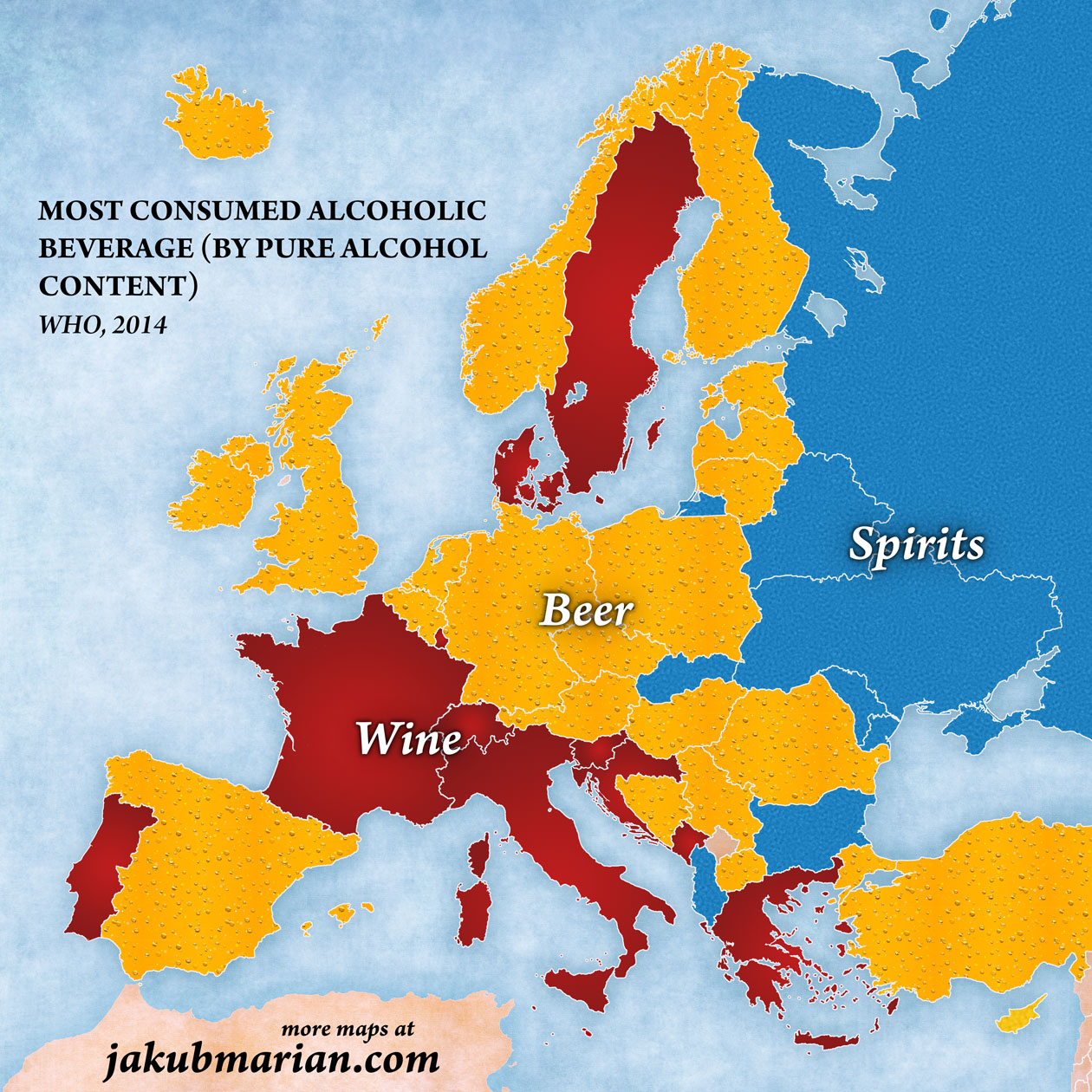 Most commonly consumed alcoholic beverage in Europe
