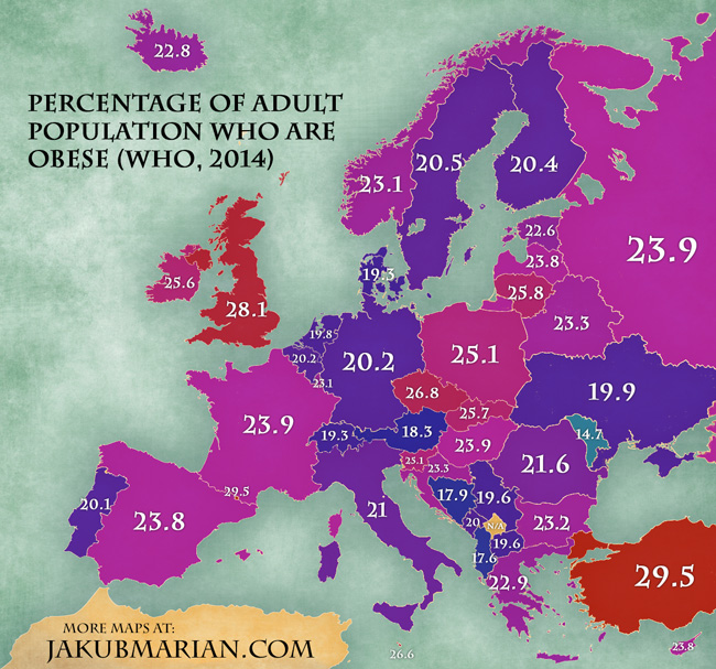 Percentage of obese population by country in Europe map