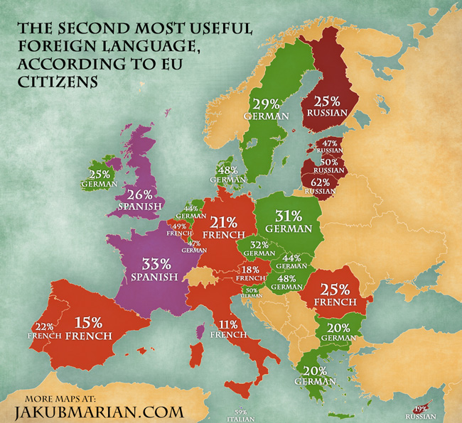 Languages Voted Most Useful In The EU By Country - Language speaking countries