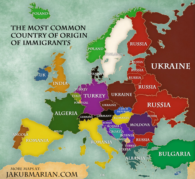 Immigration In Europe Map Of Percentages And Countries Of Origin Of Immigrants