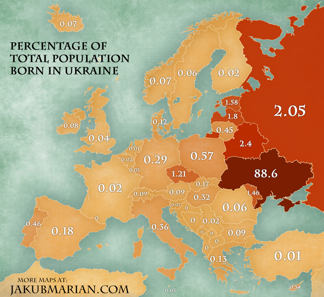 Ukraine On Map Of Europe.Ukrainian Immigration In Europe Map