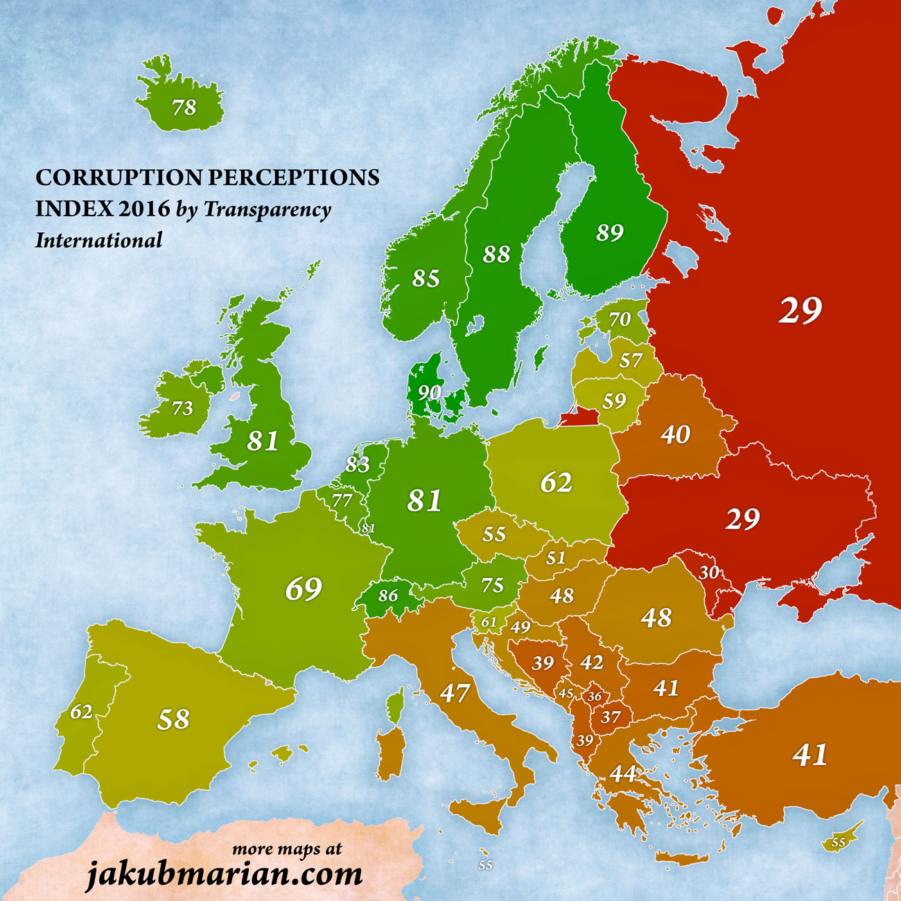 Corruption Perception Index in Europe 2016