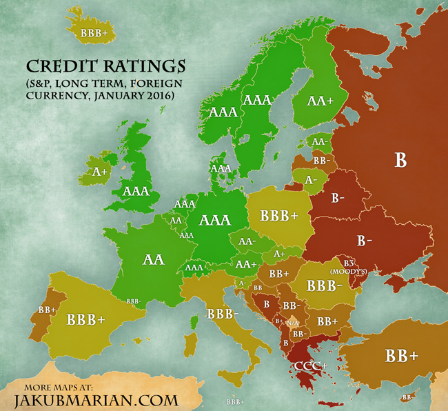 Map Europe 2016.Credit Ratings By Country In Europe 2016