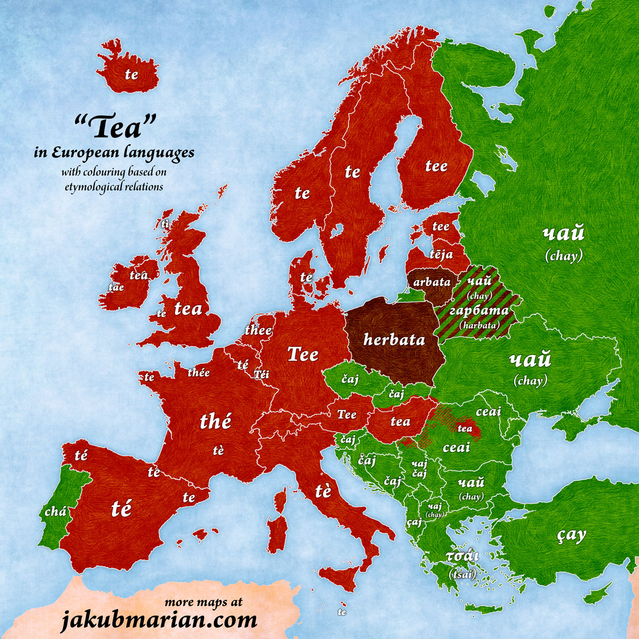 translations of tea into French, German, Spanish, Italian and other languages