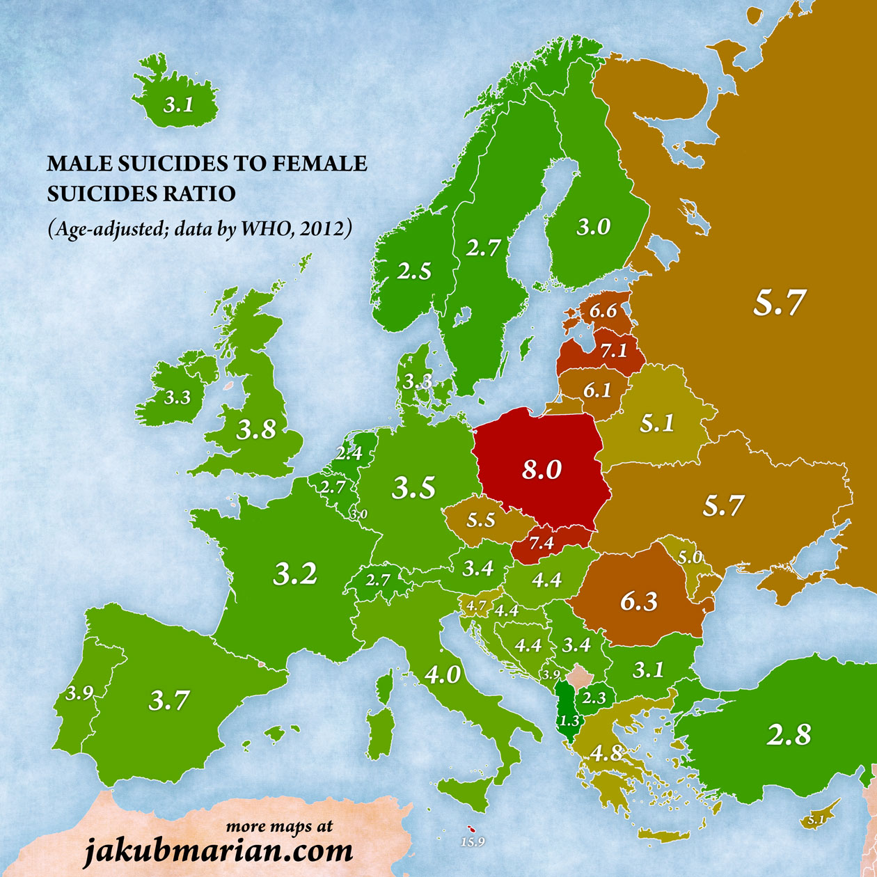 Suicides in Europe male to femal ratio