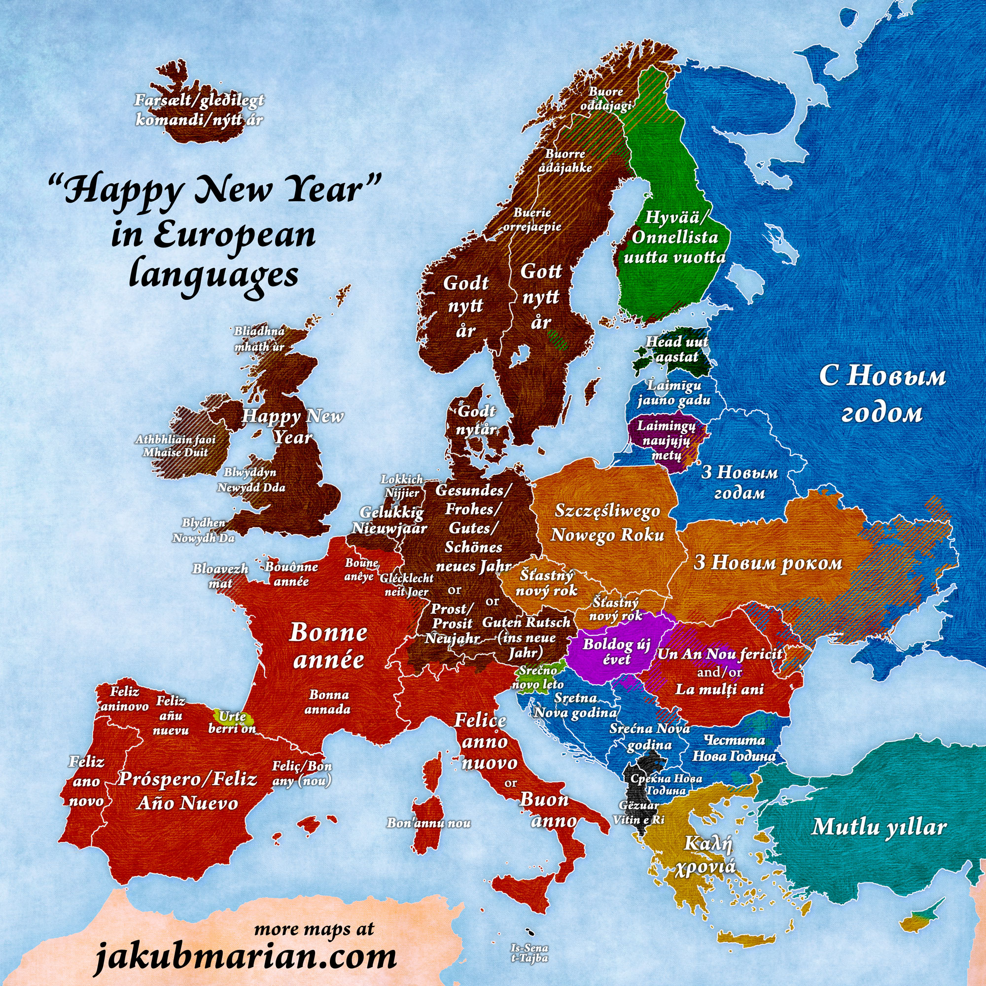Happy new year in european languages europe - Happy new year sound europe ...