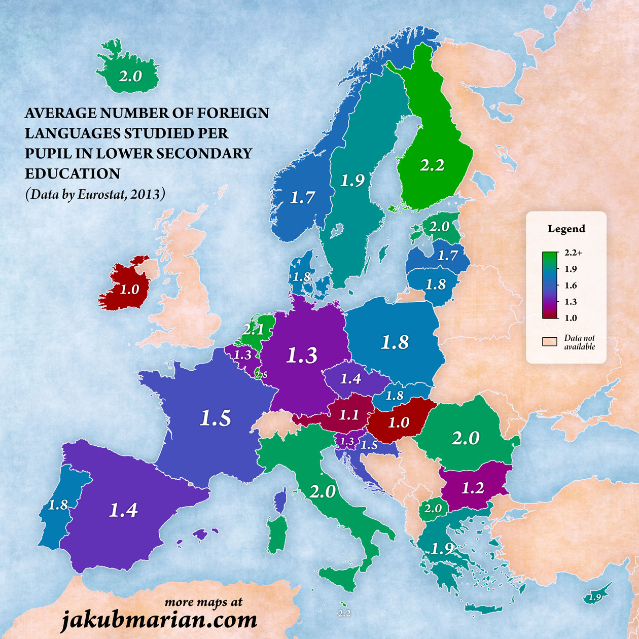 Number Of Foreign Languages Studied Per Pupil In Europe - World languages map