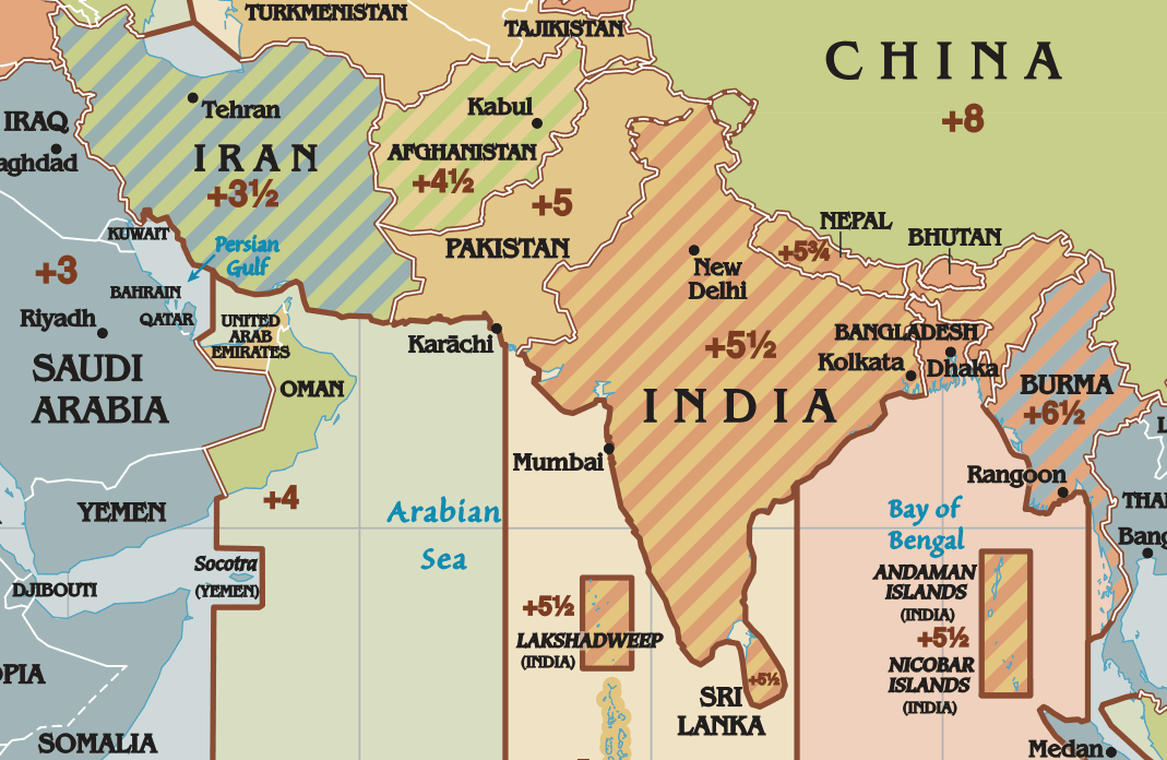 Time zones of India, Iran, Afghanistan, and Nepal