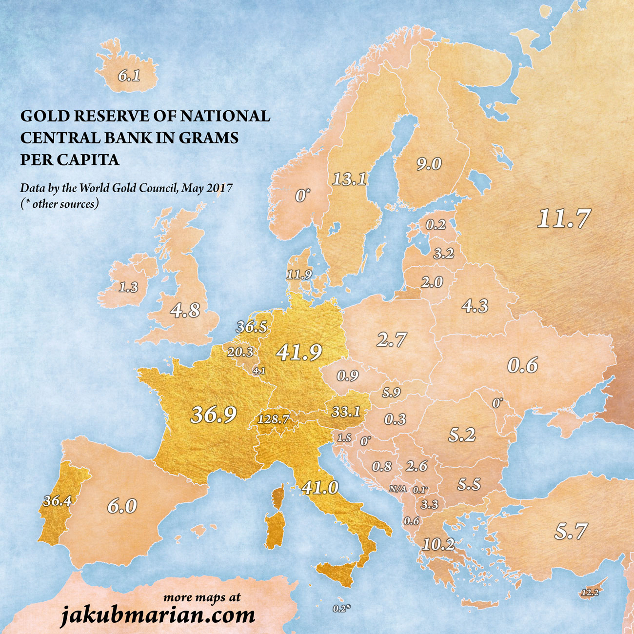 gold reserves in Europe per capita