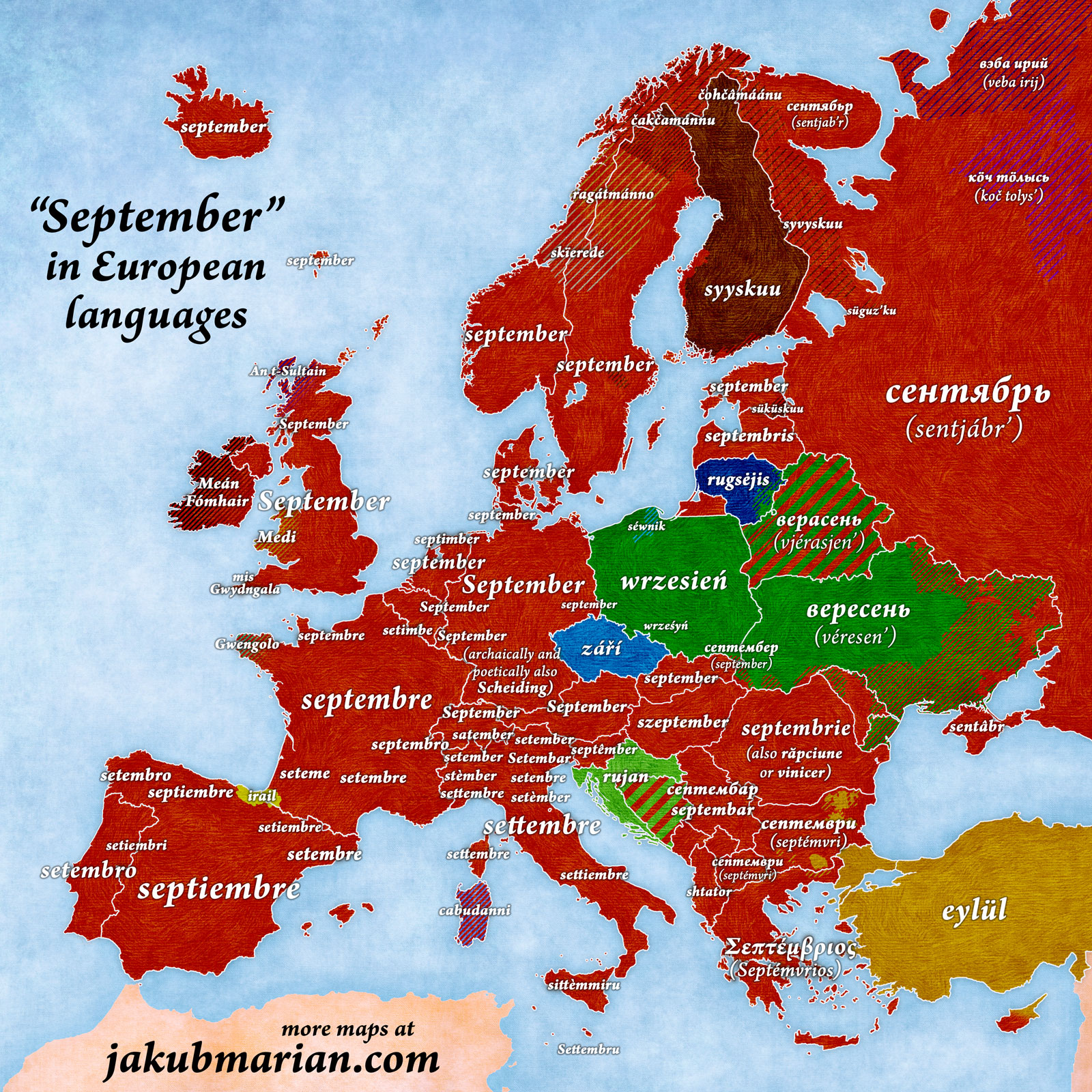 September in European languages