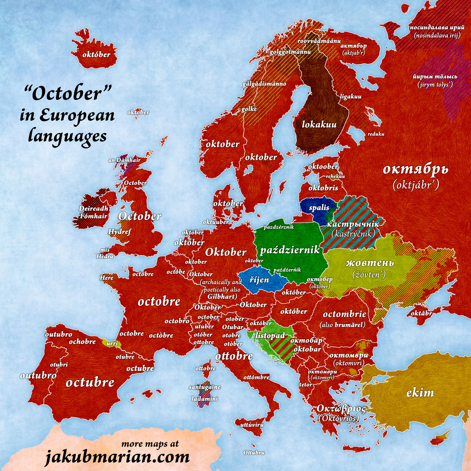 October in European languages