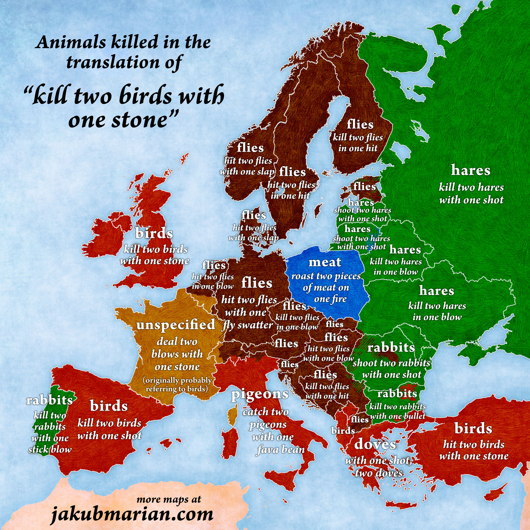 Kill two birds with one stone in European languages