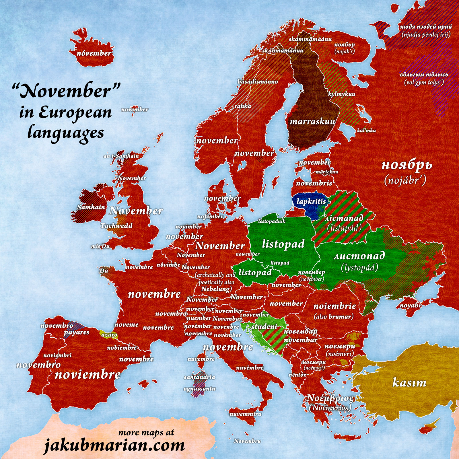November in European languages