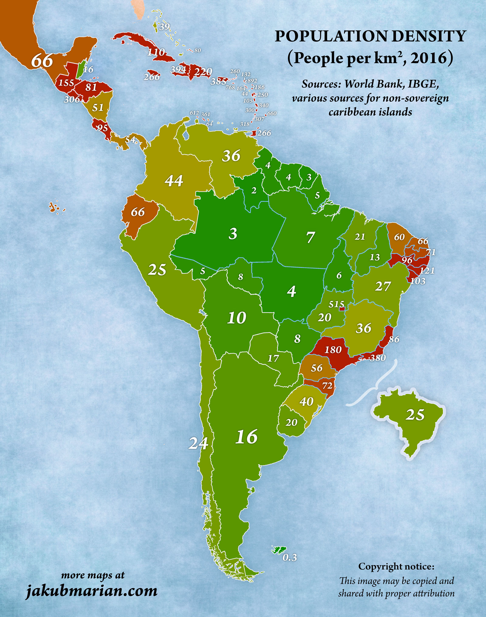 Population Density In South And Central America