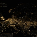 Europe at night generated from urban areas