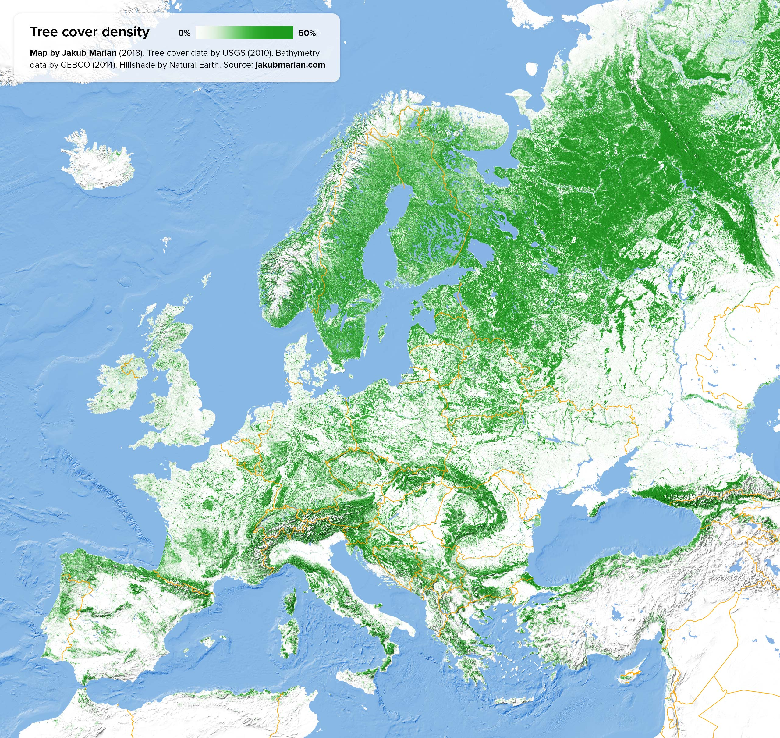 Tree cover of Europe