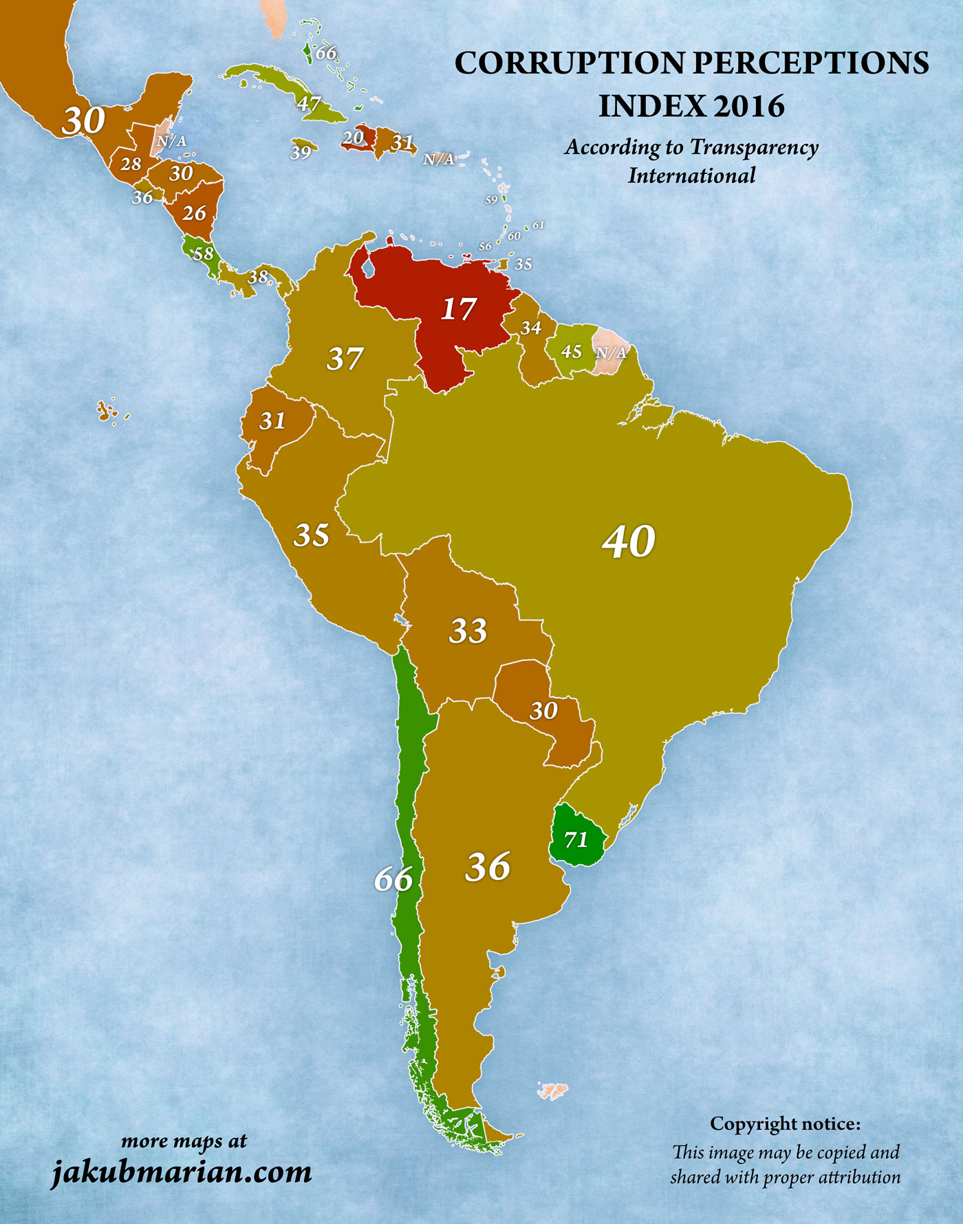 corruption perceptions index in south and central america