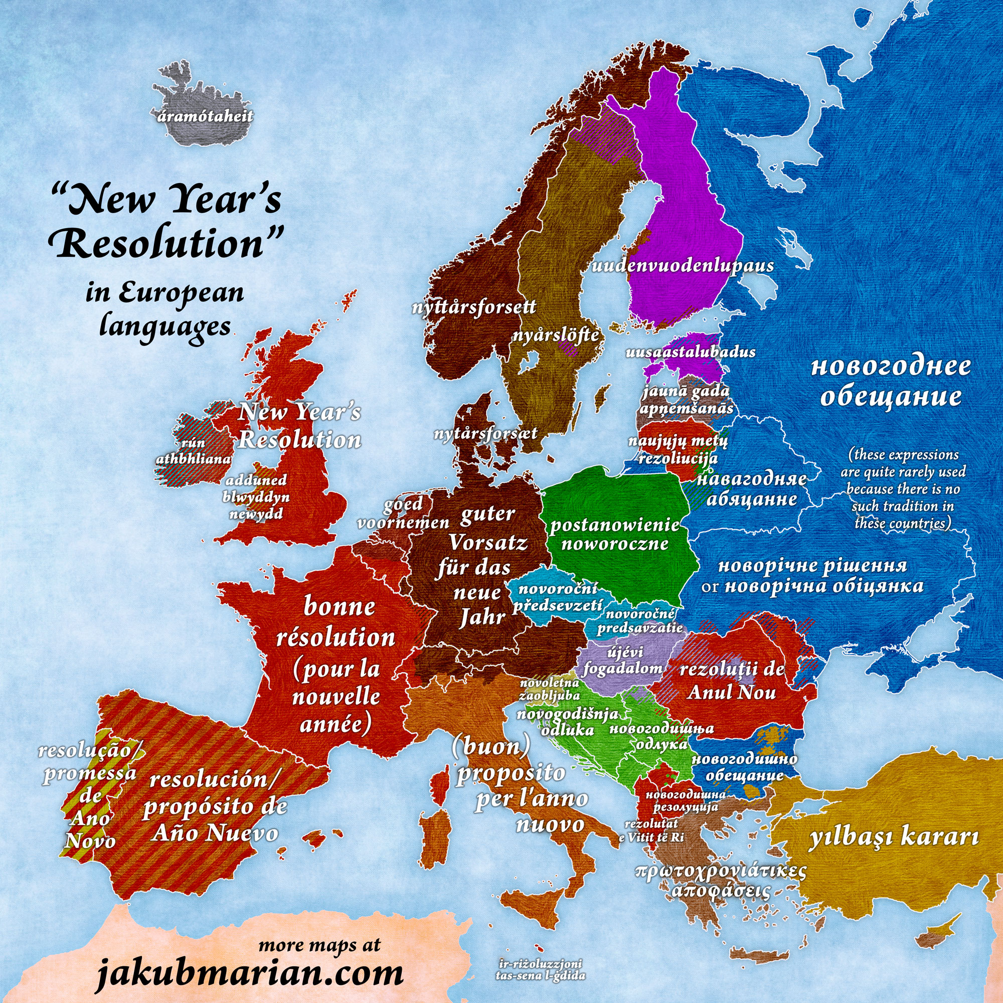 New Year's Resolution in European languages