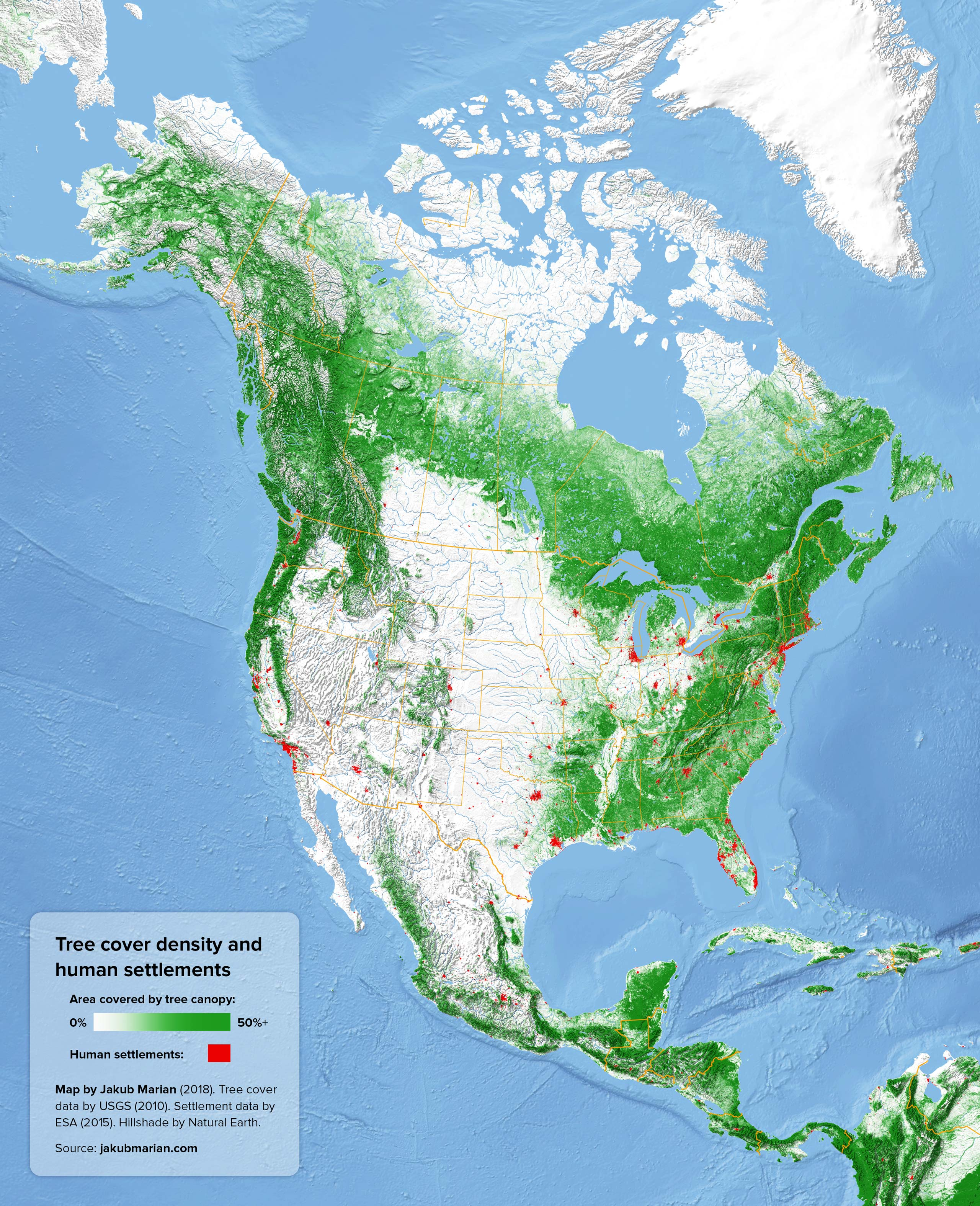 Tree cover density and human settlements of North America