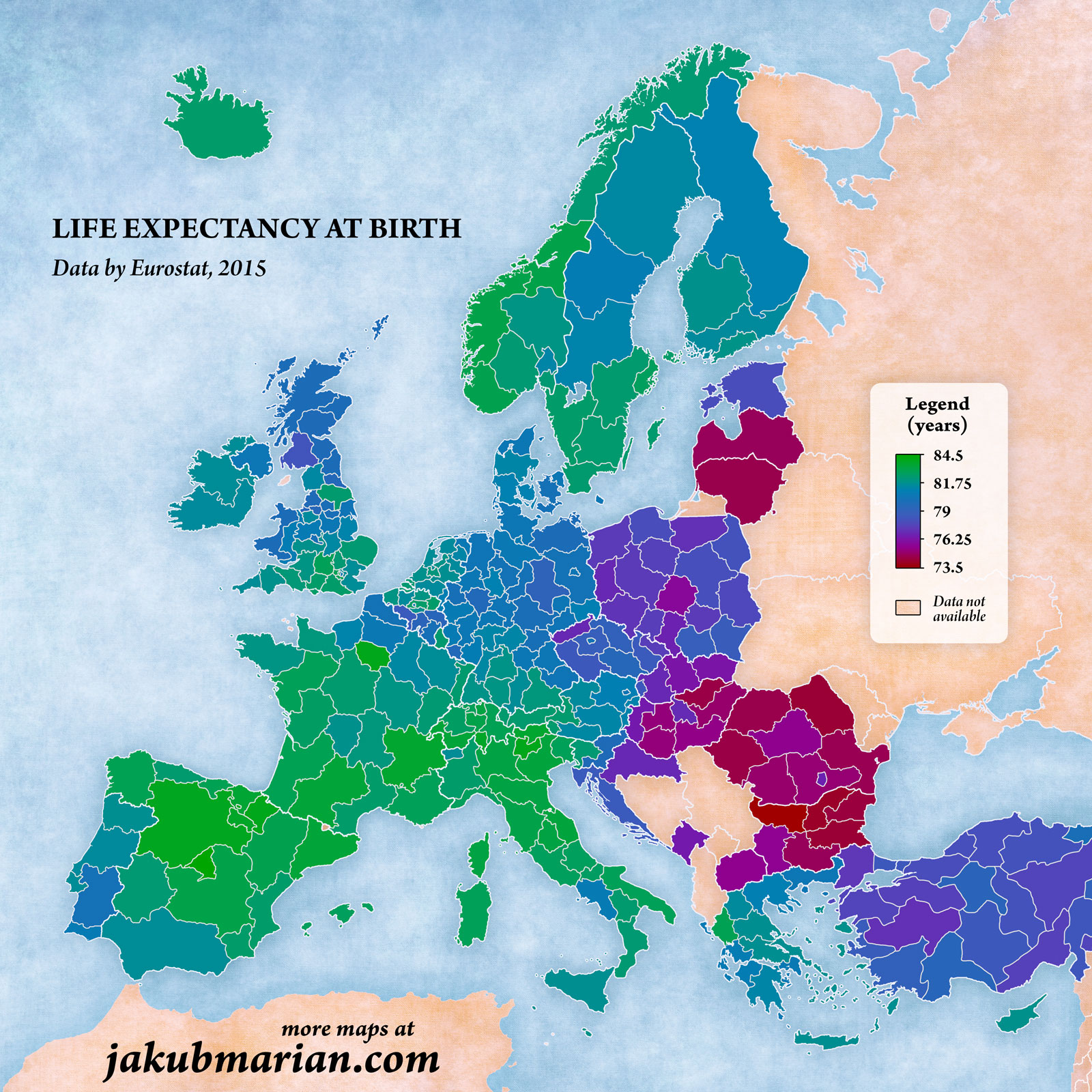 Life expectancy by NUTS 2 region in Europe
