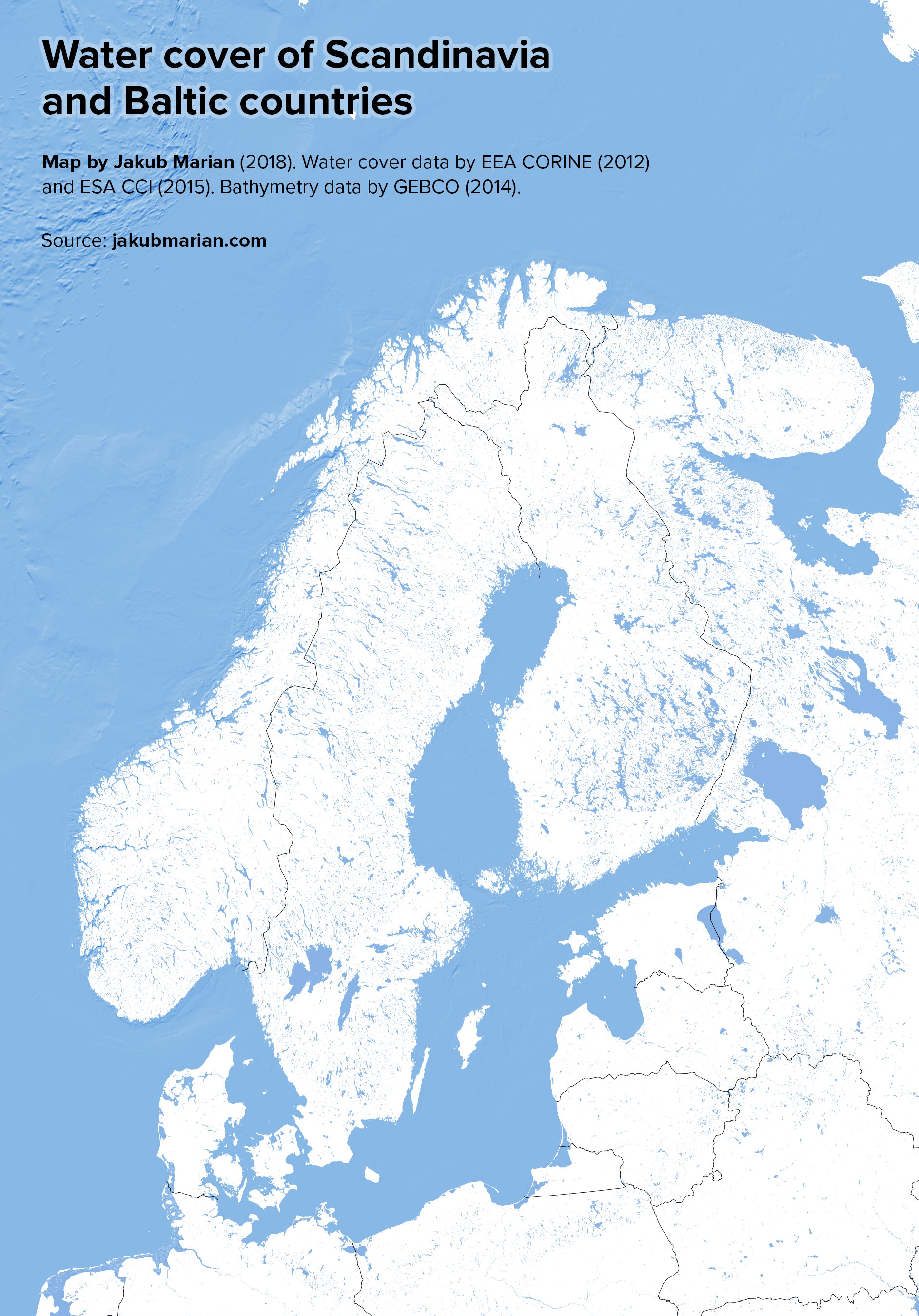 Water map Scandinavia