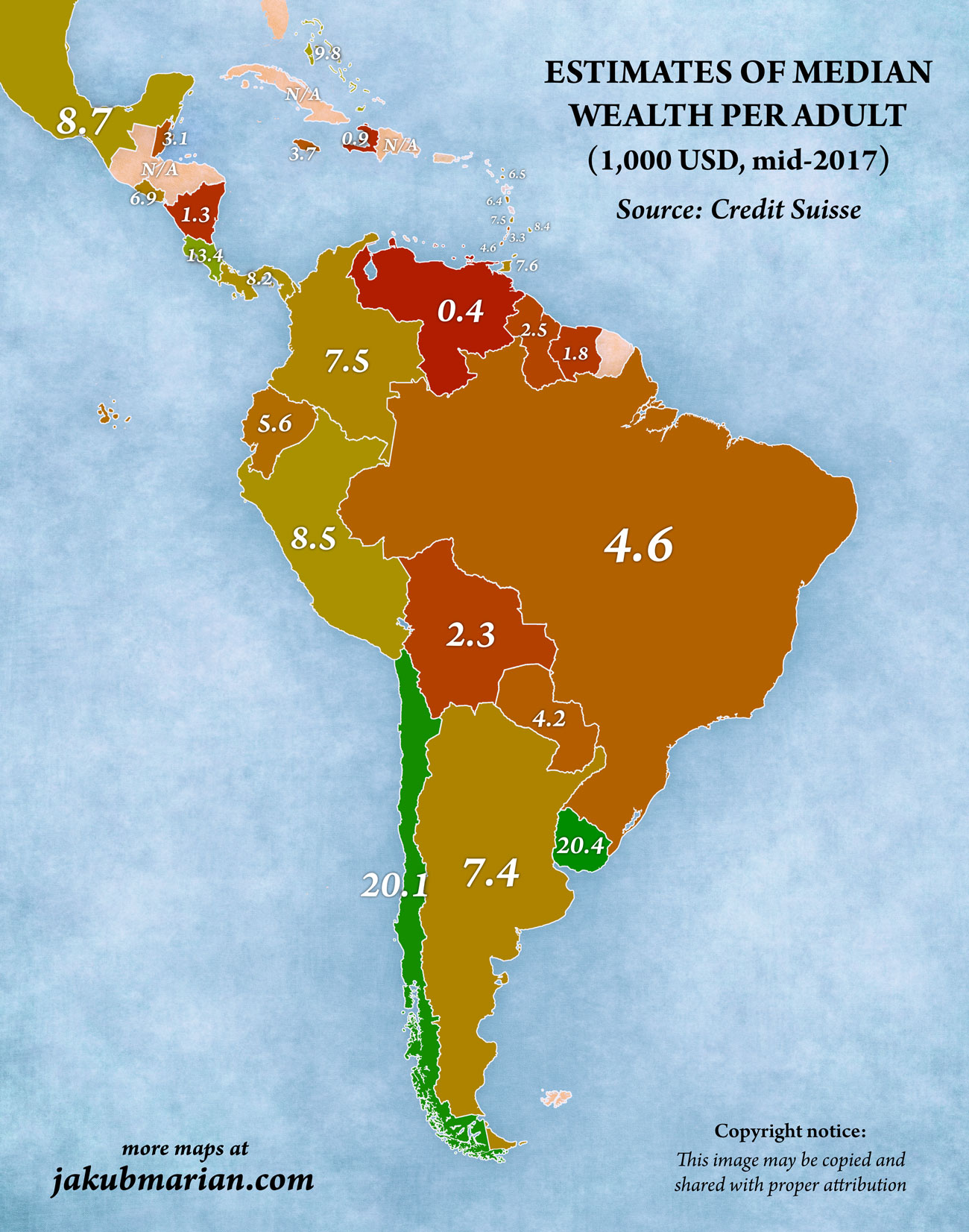 Wealth per adult in South and Central America
