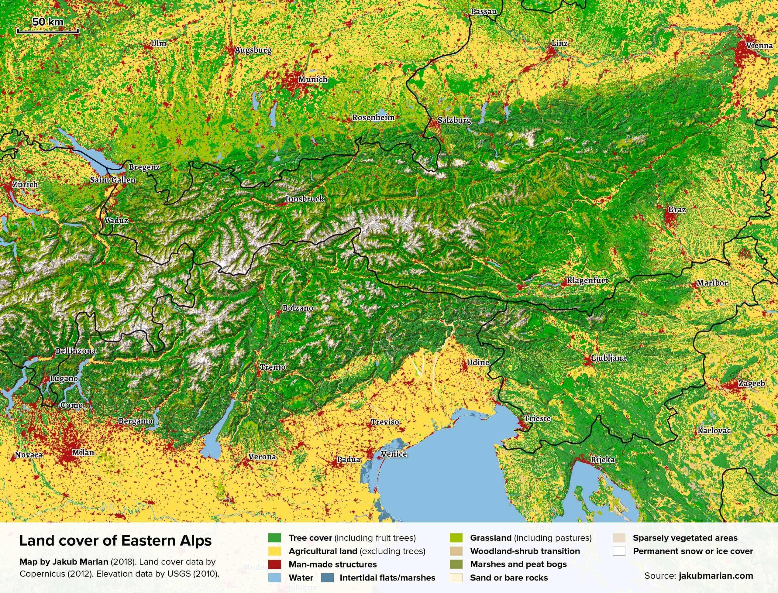 Land cover of Eastern Alps