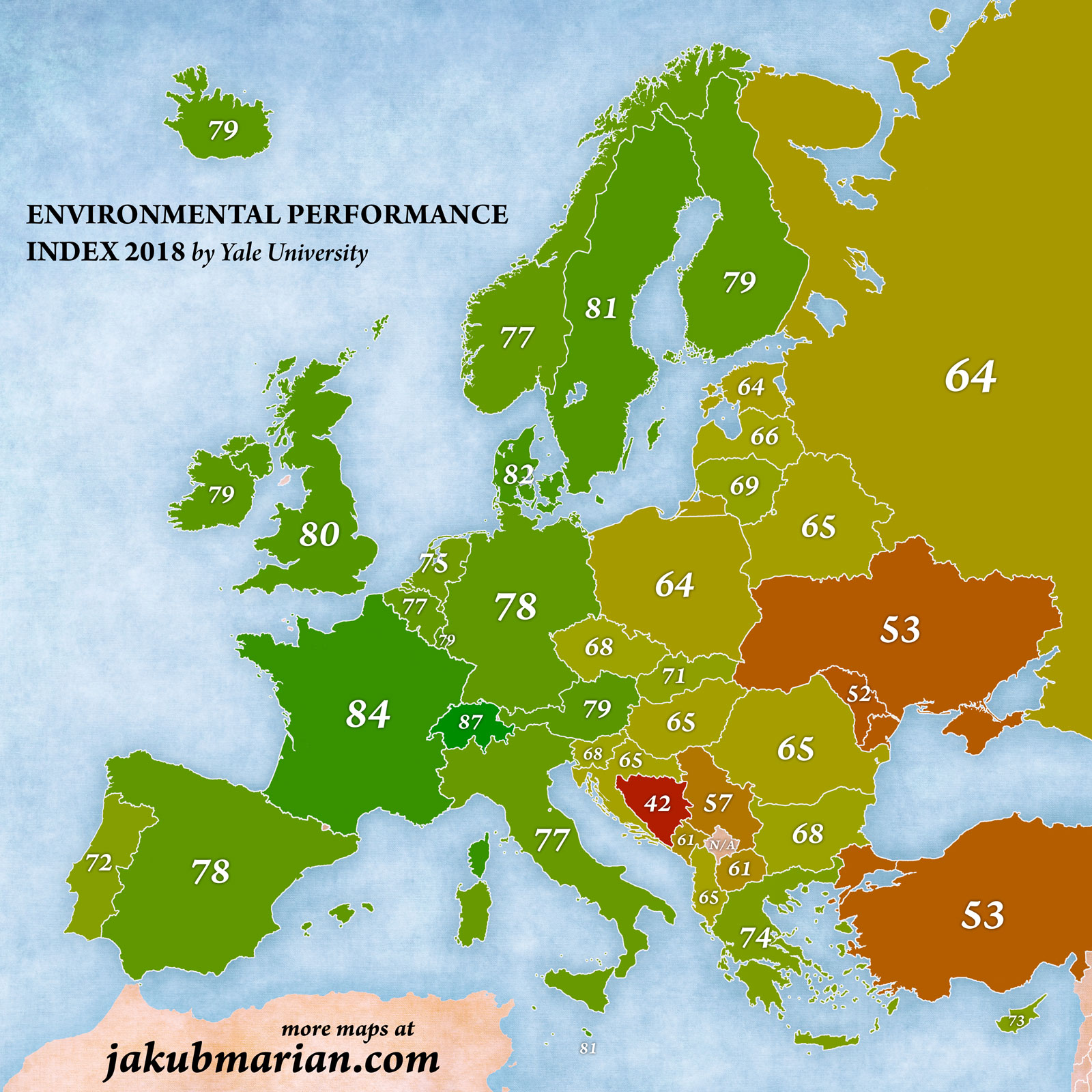 Environmental Protection Index in Europe 2018