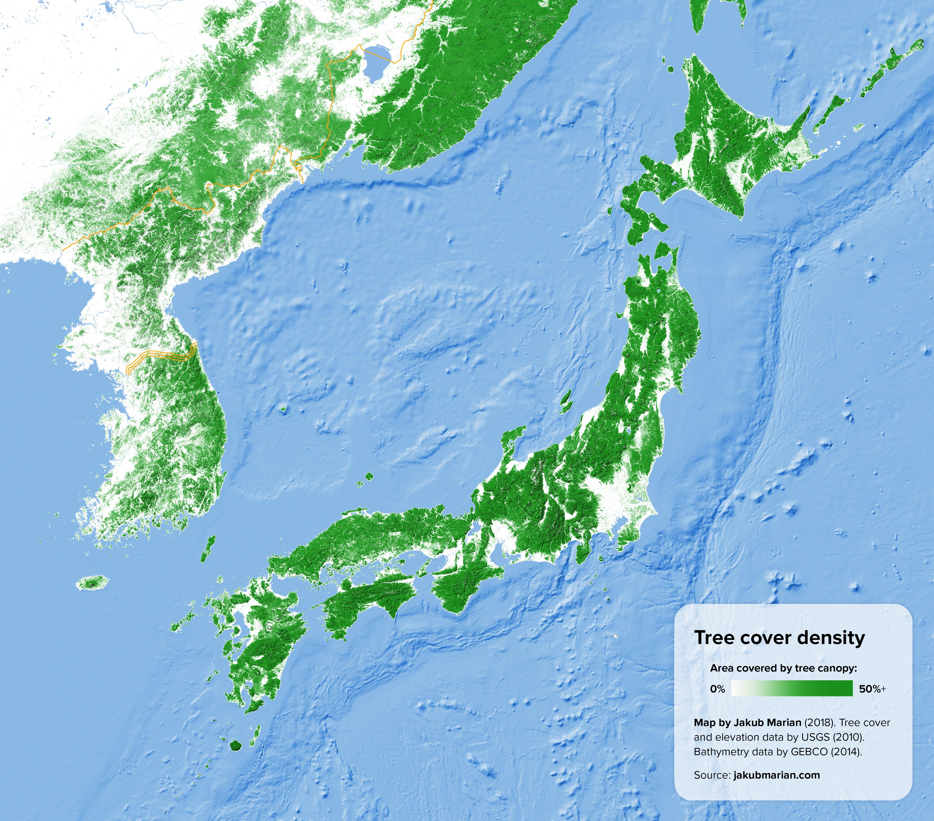 Tree cover of Japan and the Korean peninsula