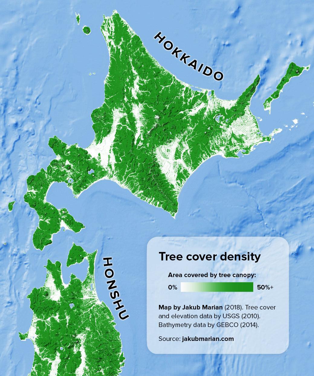 Tree cover of Hokkaido