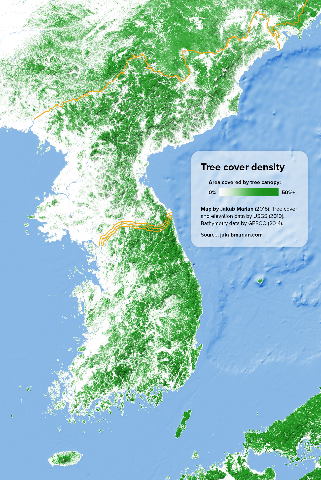 Tree cover of the Korean peninsula