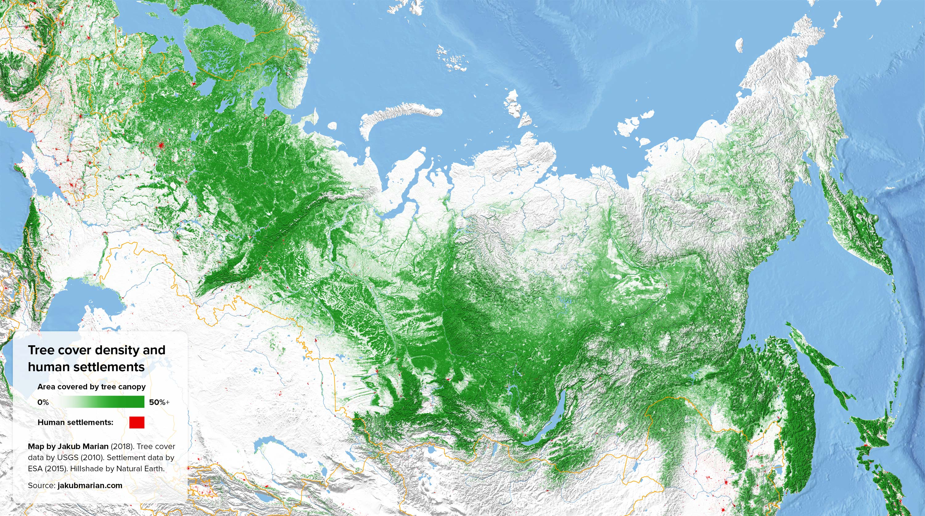 Tree cover density and human settlements of Russia