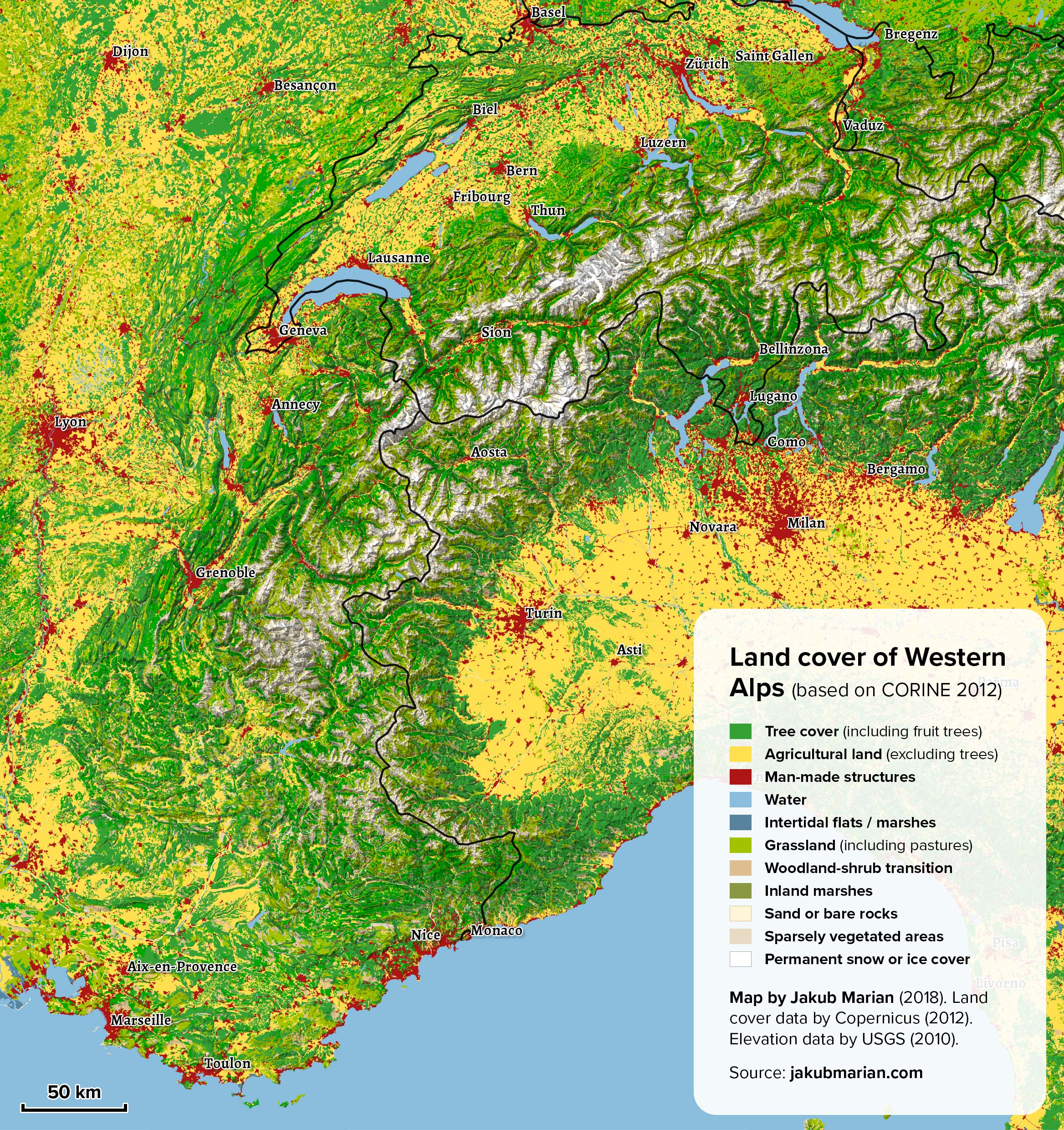 Land cover of Western Alps