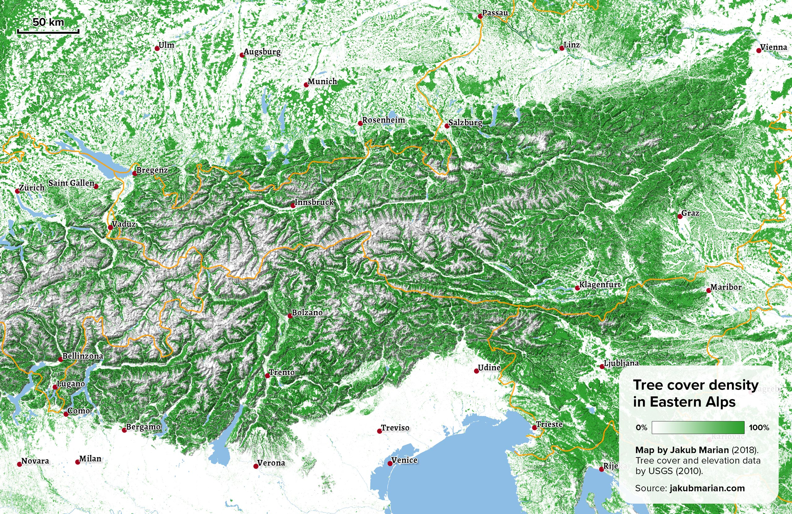 Tree cover of Eastern Alps