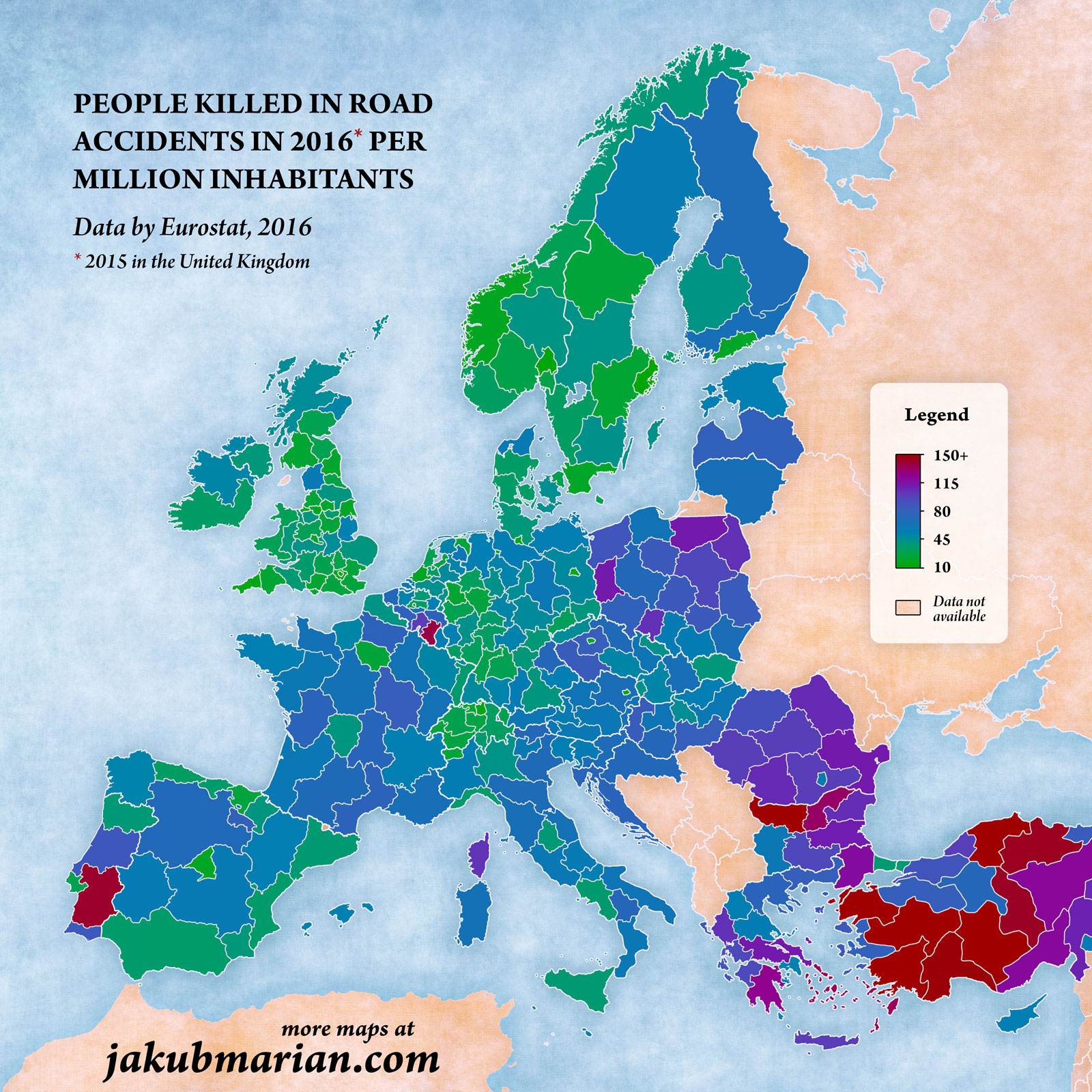 People killed in road accidents per million inhabitants