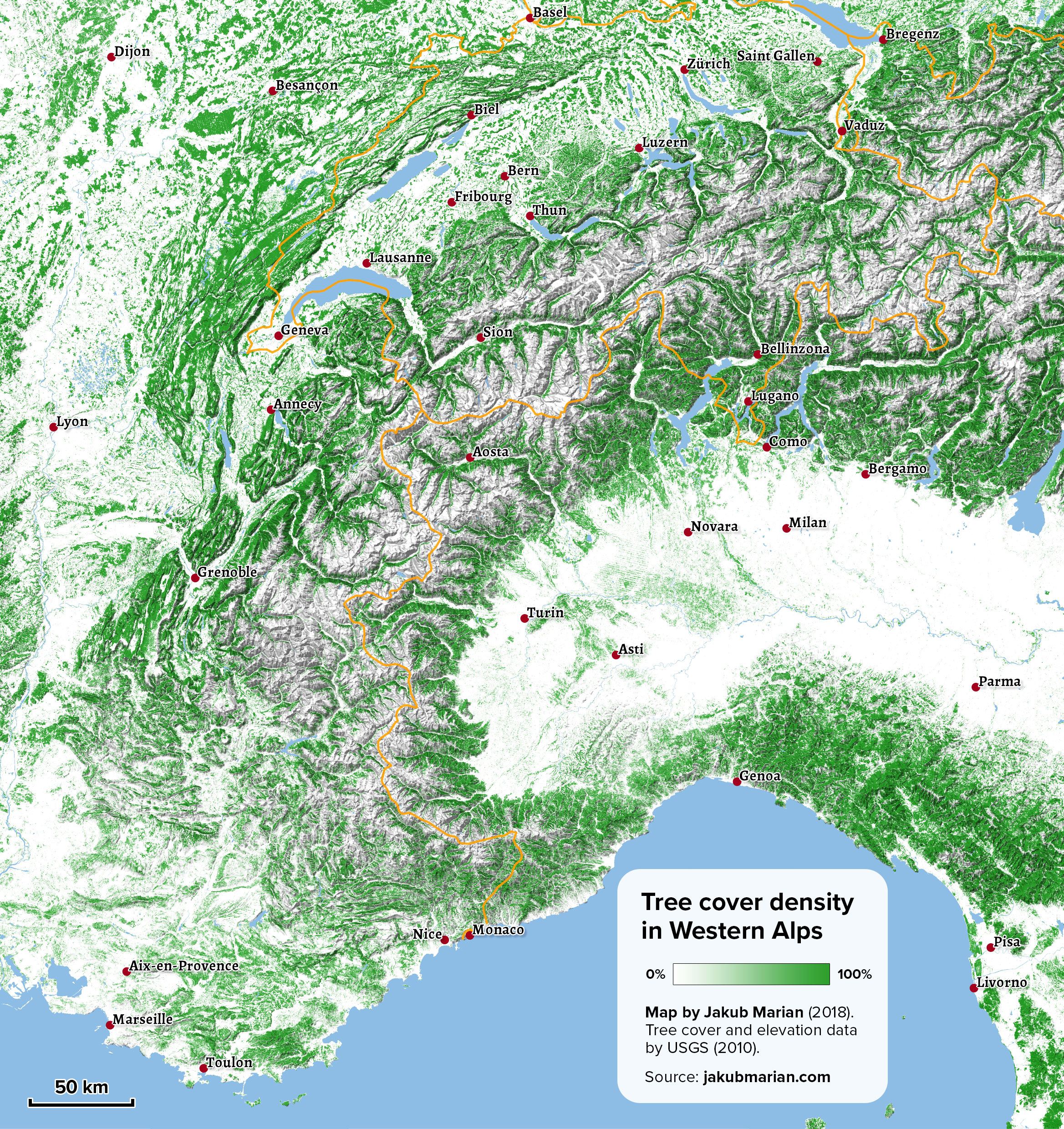 Tree cover of the Western Alps